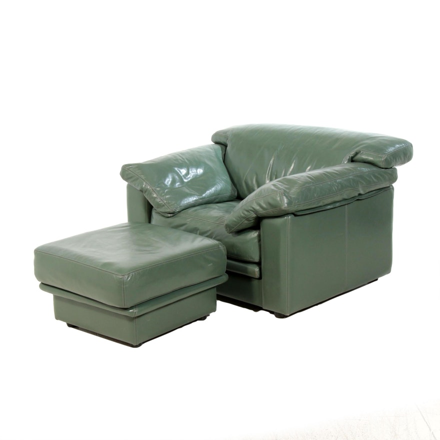 Green Leather Lounge Chair with Ottoman, Contemporary