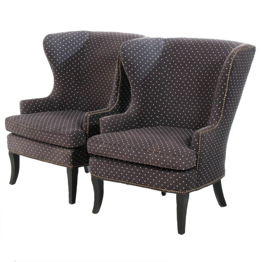 Transitional Style Navy Polka Dot Wingback Armchairs, Late 20th Century