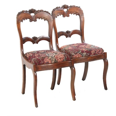 Victorian Style Carved Wood Side Chairs, Early 20th Century