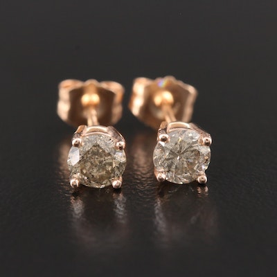 14K Rose Gold 0.76 CTW Diamond Solitaire Stud Earrings