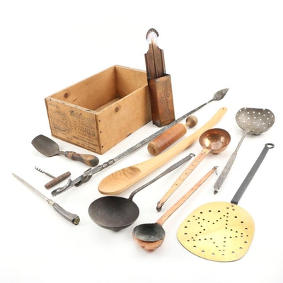Hammered Copper Ladles, Copper and Brass Stamped Mug, and Other Kitchen Tools