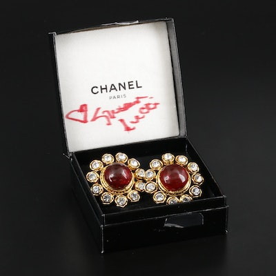 Chanel Gripoix Glass and Rhinestone Clip-On Earrings with Susan Lucci Signed Box