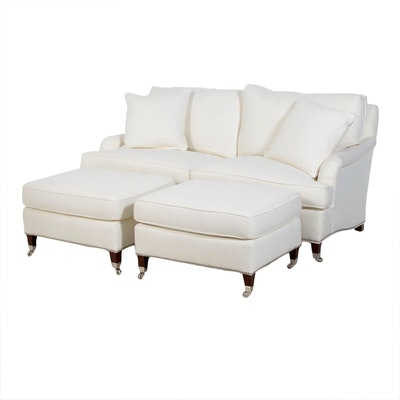 E.J. Victor White Weave-Patterned and Chrome-Tacked Loveseat with Two Ottomans