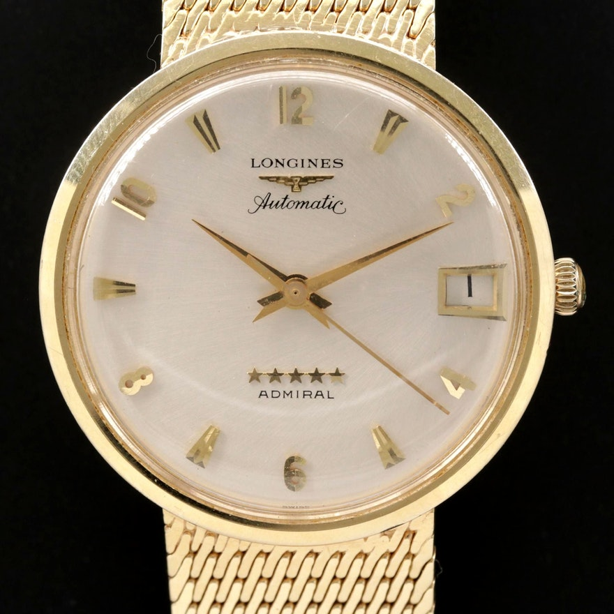 Vintage Longines Admiral 14K Gold Automatic Wristwatch, 1968