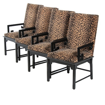 Anglo-Chinese Style Leopard Print Velveteen Upholstered Dining Chairs