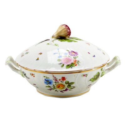 Hand-Painted Porcelain Tureen with Rutabaga Finial