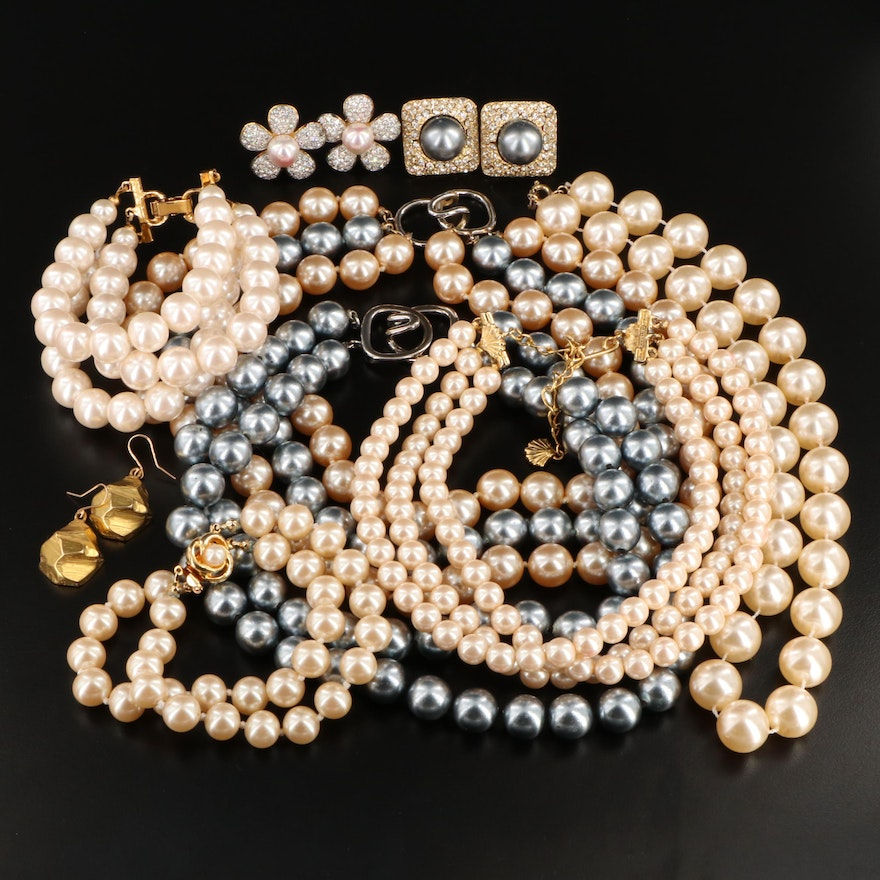 Imitation Pearl and Rhinestone Jewelry Featuring Kenneth Jay Lane