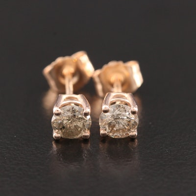 14K Rose Gold Diamond Solitaire Stud Earrings