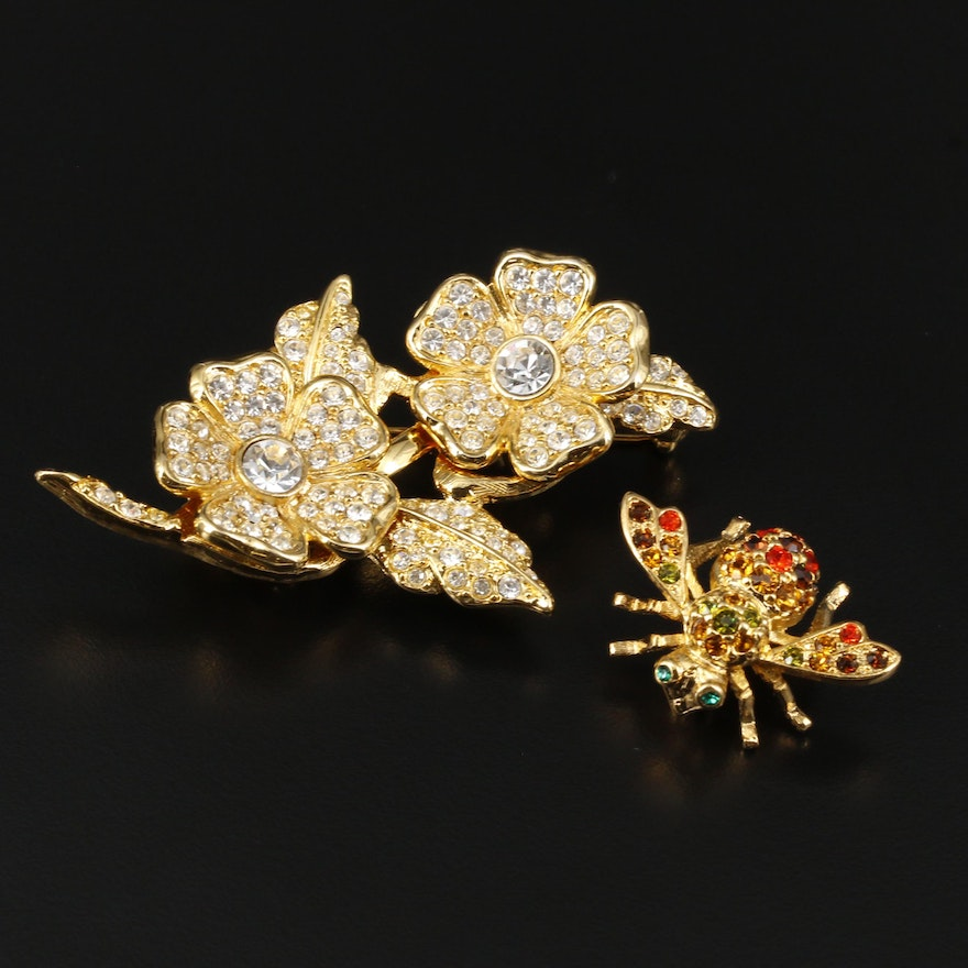 Joan Rivers Rhinestone Bee Brooch and Floral Converter Brooch