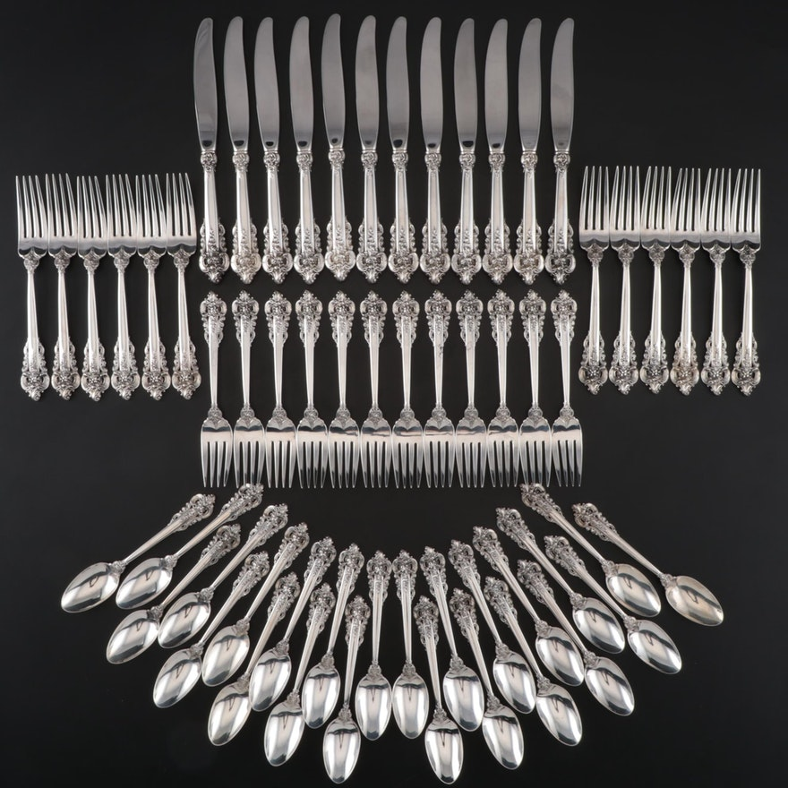 "Wallace ""Grande Baroque"" Sterling Flatware for Twelve, Mid/Late 20th Century"