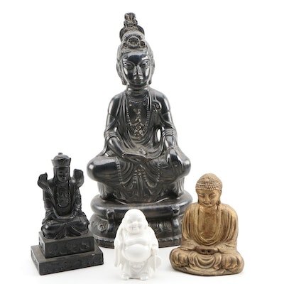 Ceramic Quan Yin Figural with Meditating and Hotei Buddhas