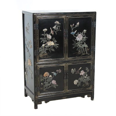 Chinoiserie Black Lacquered with Carved Stone Accented Cabinet