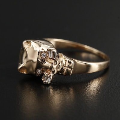 14K Yellow Gold Diamond Cat Ring