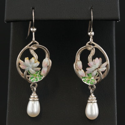 Sterling Silver Cultured Pearl and Enamel Drop Earrings
