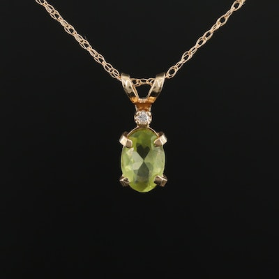 14K Yellow Gold Peridot and Diamond Pendant On Singapore Chain Necklace