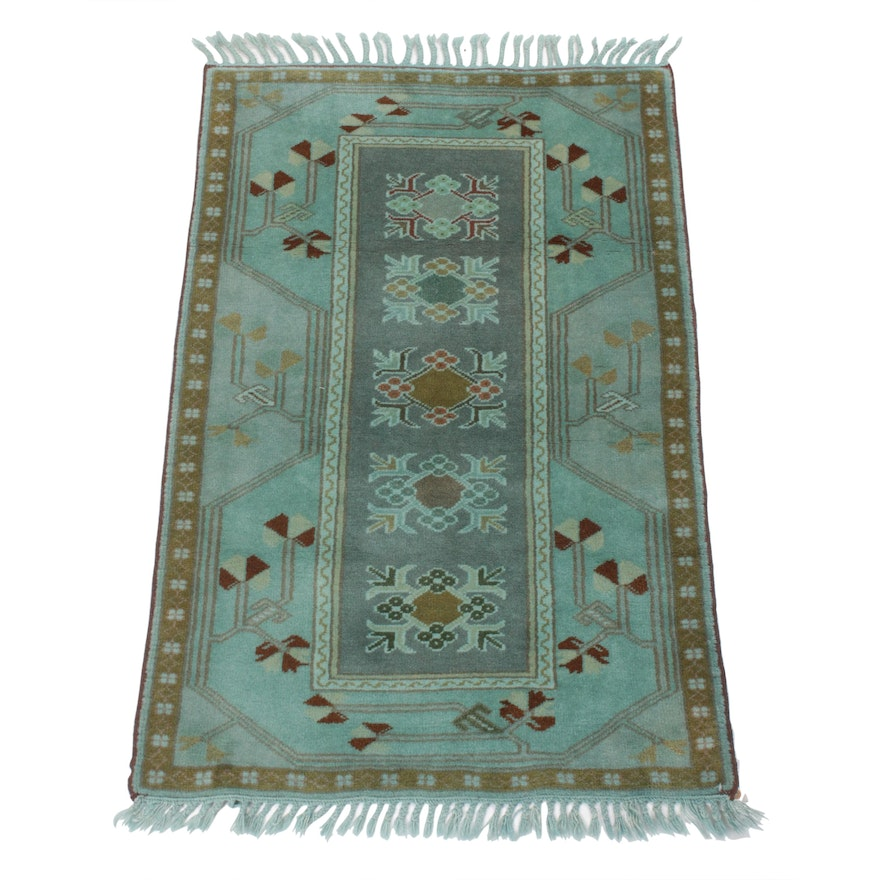 2'9 x 4'9 Hand-Knotted Over-Dyed Turkish Milas Village Rug, 1980s