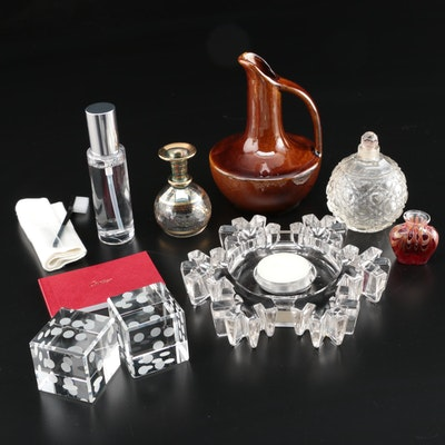 Cartier Jewelry Lotion, Badash Crystal Dice, Perfume Bottle, Pottery and More
