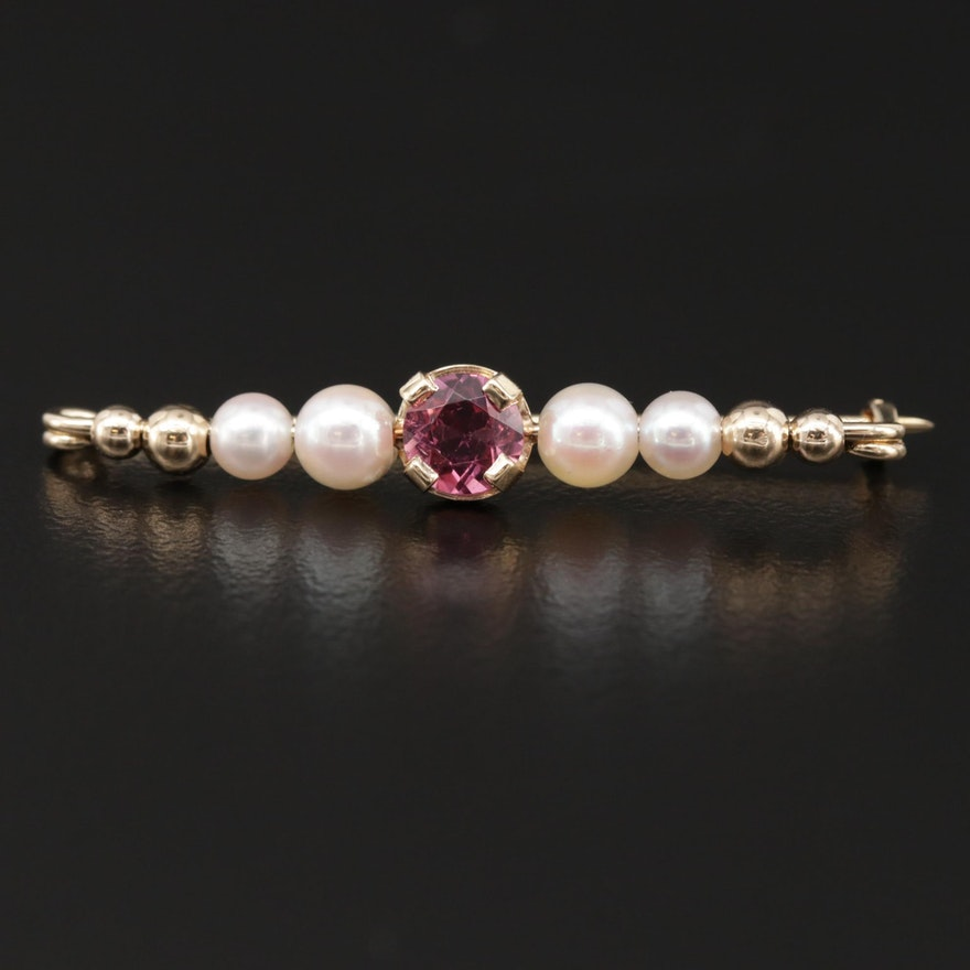 14K Yellow Gold Toumaline and Cultured Pearl Brooch