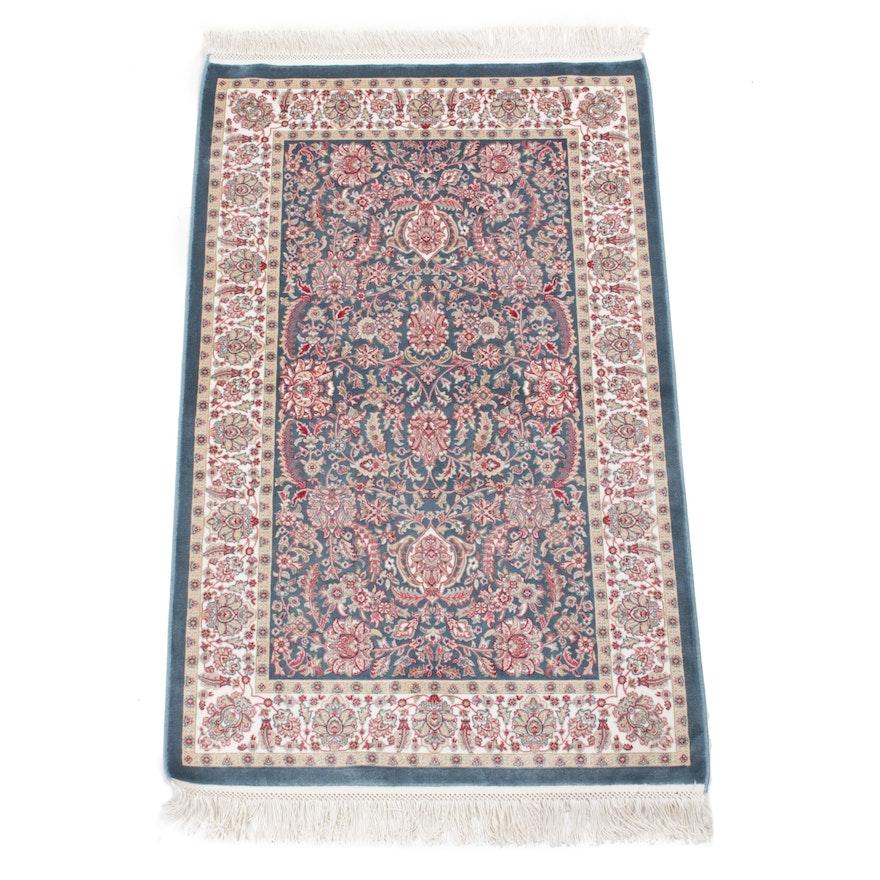 2'6 x 4'6 Hand-Knotted Turkish Art Silk Rug, 2010s