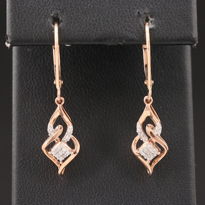 10K Rose Gold Diamond Drop Earrings