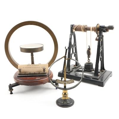 Scientific Test Equipment with Tangent Galvanometer and Pressure Gauge