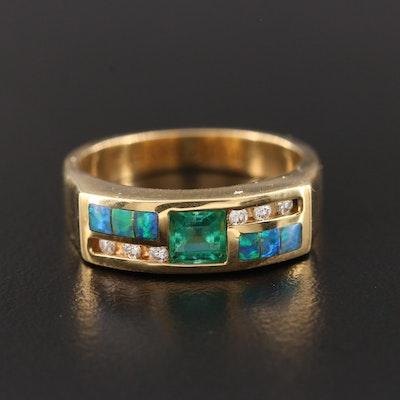 Kabana 18K Yellow Gold Emerald, Opal and Diamond Ring