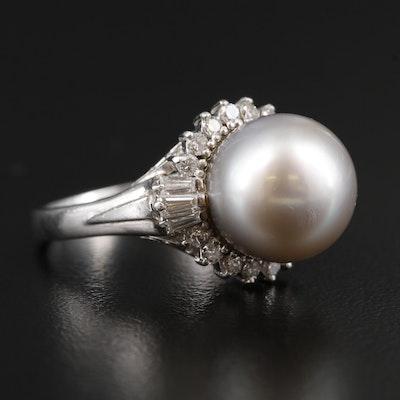 Platinum Pearl and Diamond Scrollwork Ballerina Ring