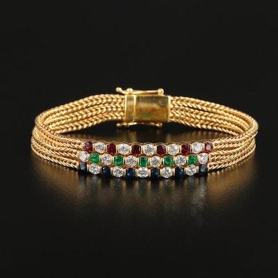 18K Gold Ruby, Emerald, Sapphire and 1.60 CTW Diamond Multi-Strand Bracelet