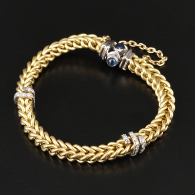 Moda Italia 18K Yellow and White Gold Sapphire and Diamond Bracelet