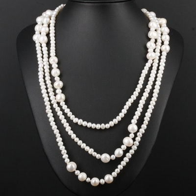 Cultured Pearl Endless Station Necklace