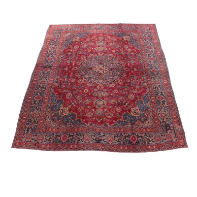 9'6 x 12'10 Hand-Knotted Persian Kashan Wool Room Sized Rug