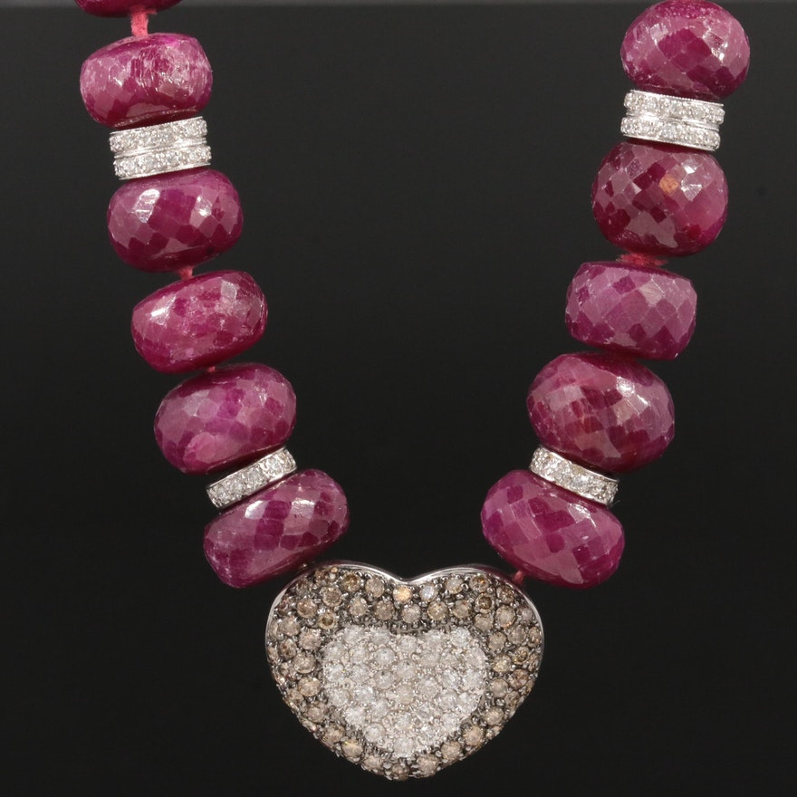 14K White Gold 3.48 CTW Diamond and Ruby Heart Necklace with 18K Accents