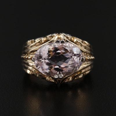 14K Yellow Gold, Kunzite and Diamond Ring
