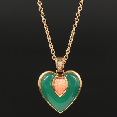 Cartier 18K Chalcedony, Coral and Diamond Heart Enhancer Pendant Necklace