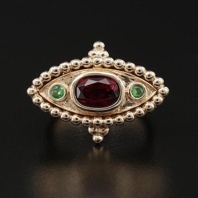 14K Yellow Gold Rhodolite Garnet and Tsavorite Ring