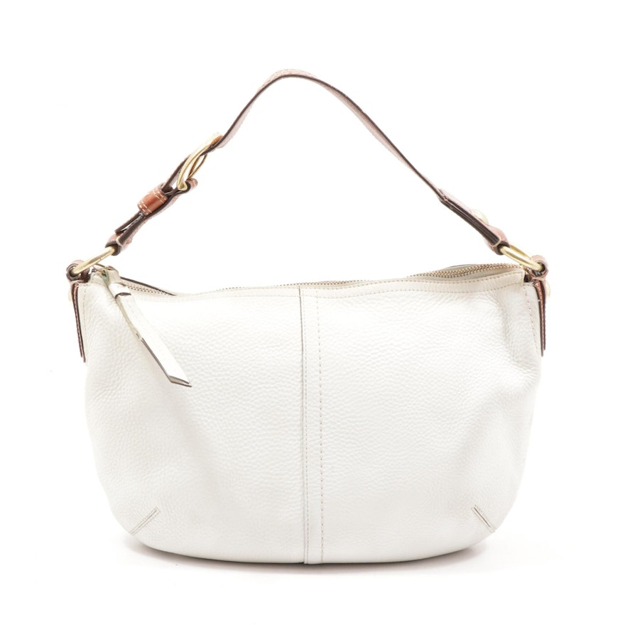 Coach Two-Tone Pebbled Leather Hobo Shoulder Bag