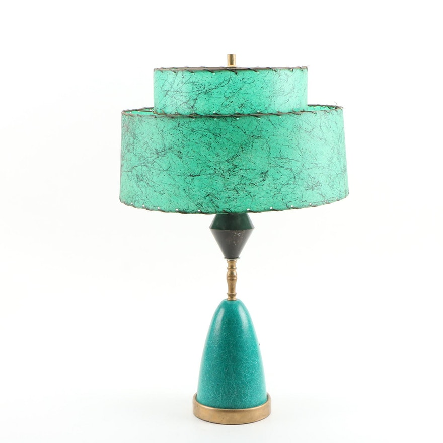 "Mid Century Modern Table Lamp with ""Webs"" Pattern Two -Tier Fiberglass Lampshade"