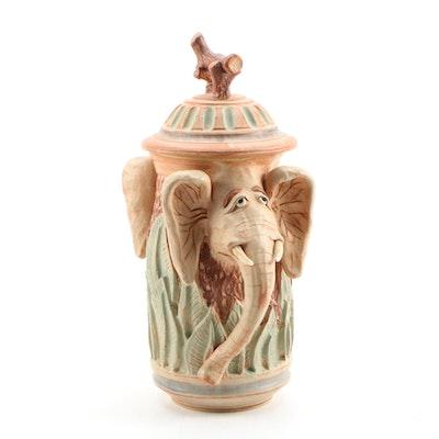 Dick Overman Whimsical Lidded Elephant Stoneware Jar, 1993