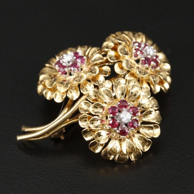1950s Tiffany & Co. 18K Diamond and Ruby Floral Brooch with Platinum Accent