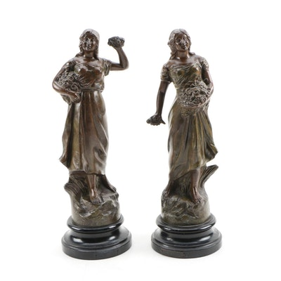 """After Ruffony Bronzed """"Bataille de Fleurs"""" Spelter Statuettes"""