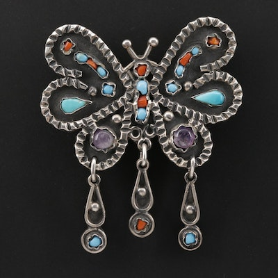 Sterling Silver Turquoise, Coral and Amethyst Converter Brooch