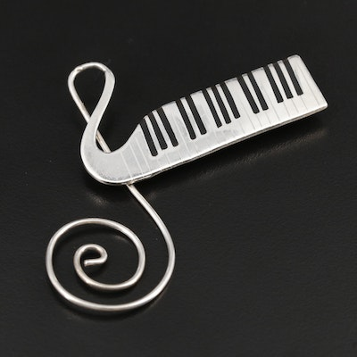 Mexican Sterling Silver Resin Piano Keyboard J Note Treble Clef Brooch