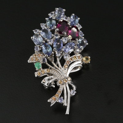 Sterling Silver Floral Bouquet Pin with Garnet, Tanzanite and Emerald