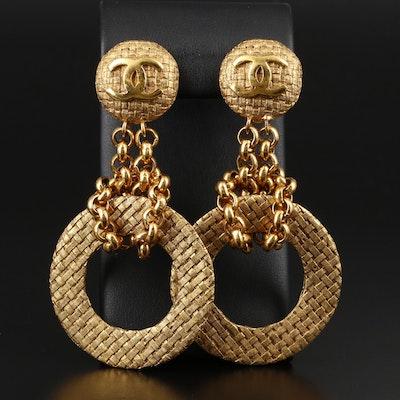 Chanel Woven Disc Clip-On Dangle Earrings
