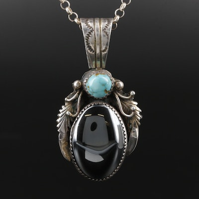 Frank Guerrero Navajo Diné Sterling Hematite and Turquoise Pendant Necklace