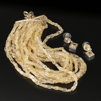 Francesca Romana Citrine Earrings and Multi-Strand Necklace