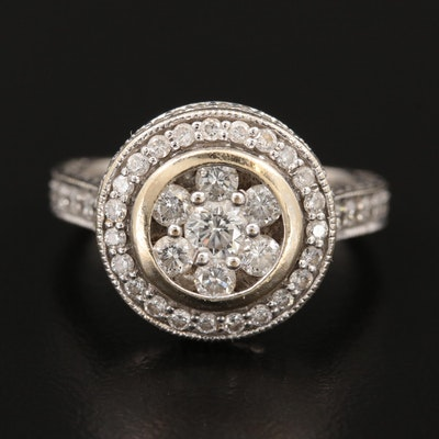 Vintage 18K White Gold 1.08 CTW Diamond Ring