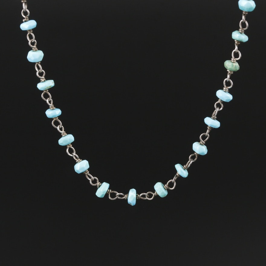 Sterling Silver Turquoise Rough Cut Bead Necklace