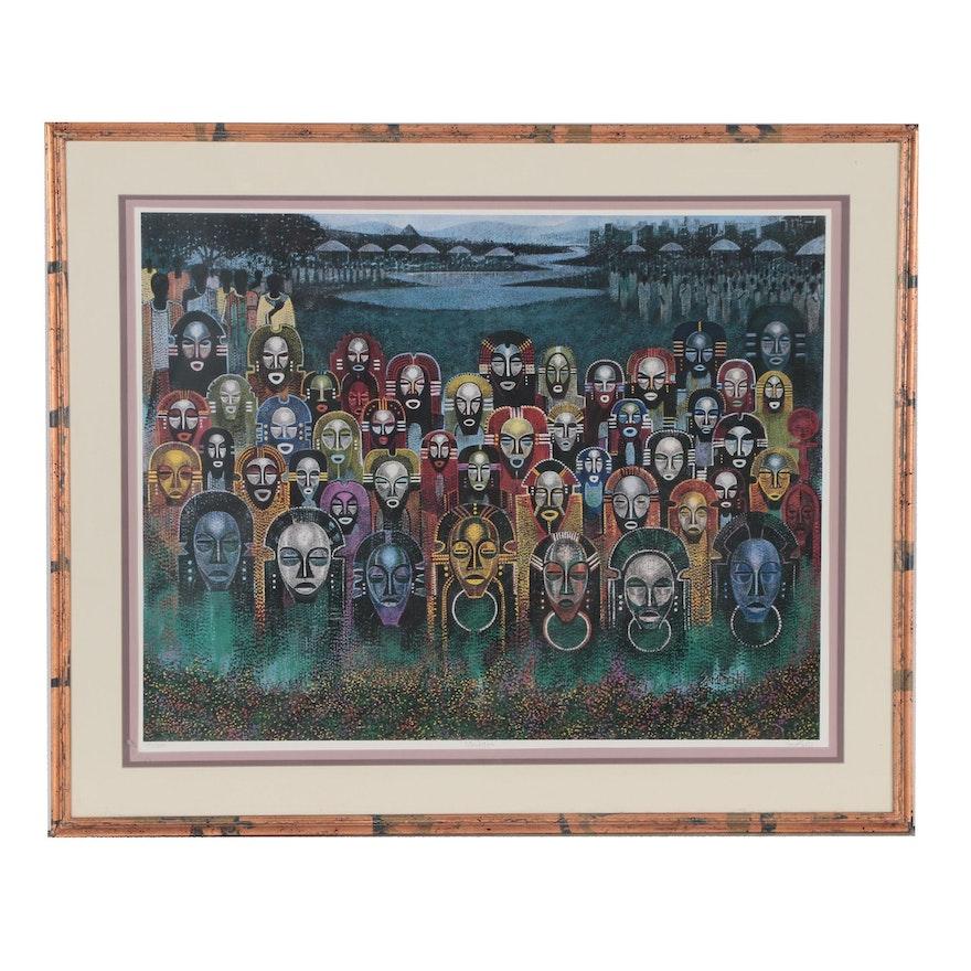 """Sami Bentil Offset Lithograph """"Maskitos"""", 1992"""