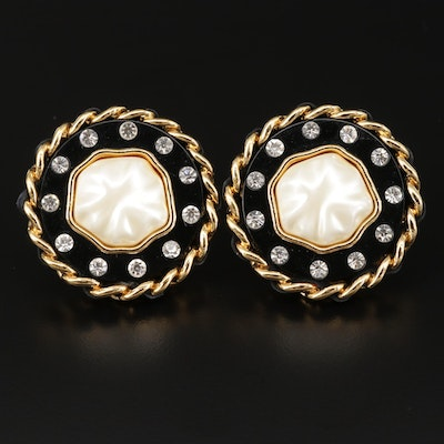 Vintage Chanel Pearl and Rhinestone Clip-On Button Earrings with Signed Box